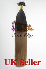 "20"" 1g 7A* Ombre Dark Brown Nano Ring Double Drawn Remy Human Hair Extensions UK"