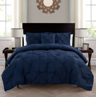 PINTUCK COMFORTER BEDDING SET Navy Blue Bedspread Pillowcase King Size