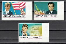Ajman, Mi cat. 445-447 B. John, Robert and Ted Kennedy shown. IMPERF issue.