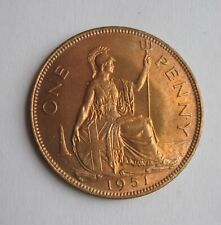 1951 Great Britain George VI One 1 Penny coin