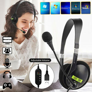 USB Headset Kopfhörer Telefon Stereo PC Laptop Computer Headphone Chat Mikrofon