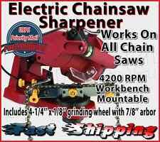 Electric Chainsaw Blade Sharpener Sharpen Grinder Chain Saw Bench Wall Vise NEW
