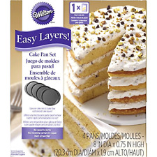 Cake Pan Set Round 4 Piece Easy Layers Durable Dishwasher Safe 8 Inches Baking