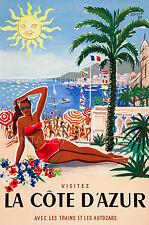 LA COTE D'AZUR Vintage French Travel Poster Reproduction Canvas Print 20X30