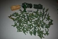 1970's Timmee Marx Processed Plastic Green Army Men, Military, Vehicle Lot of 81