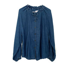 & Other Stories Chambray Top Womens 2 Blue Long Sleeve Button Down Linen Blend
