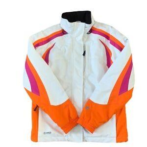 Spyder Kids White Pink and Orange Retro Style Ski Jacket size 18