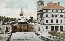 Sault-Ste. Marie MI * Looking Down in Weitzel Lock 1908 Detroit Marine P.O.
