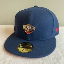 New Era New Orleans Pelicans 59Fifty 5950 Fitted Hat Cap Navy Metal Badge 7 1/2