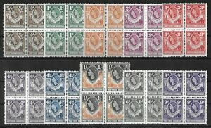 NORTHERN RHODESIA 1953 Mint NH Set of 10 in Blocks of 4 SG #61-70 VF