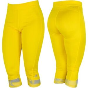 Adidas Techfit 3/4 Compression Trousers Underpants Leggings Girl Running Yellow