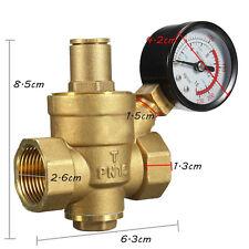 DN20/NPT 3/4''Adjustable Brass Water Pressure Regulator Reducer Gauge Met Valves