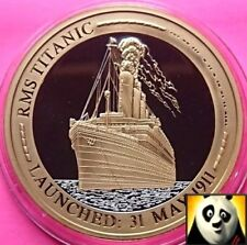 2010 Ships That Made History RMS TITANIC Cu Silver Gold Plated Proof Coin Medal