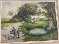 Vintage original oil painting on wood  unknown painter signed.
