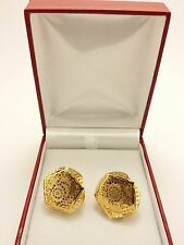 18k Solid Yellow Gold Italian Polished Flower Perforated Earrings 7.40 Grams