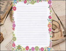 Floral Bordered Design Lined Stationery Writing Set, 25 sheets & 10 envelopes