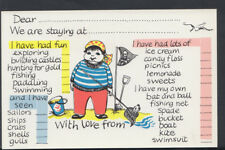 Greetings Postcard- Holiday Message Card - Child Pirate / Beach / Fishing  A548
