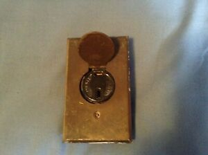 Vintage RARE Slotted Porcelain Hubbell Receptacle & Bryant Brass Latch Plate