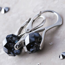 925 Sterling Silver Earrings Briolette Silver Night Crystals from Swarovski®