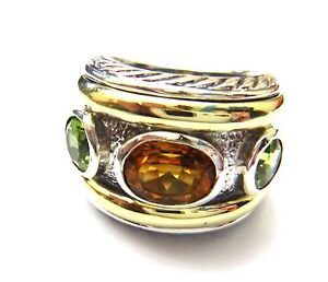 Rare! Wide David Yurman Fiery Citrine/Green Peridot Retired Heavy Band Ring