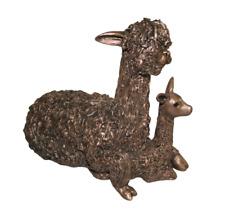 More details for alpaca & cria sitting bronze figure frith sculpture vb031 veronica ballan statue