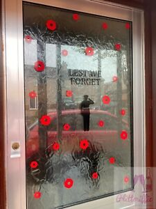 REMEMBRANCE DAY POPPY SOLDIER VINYL WINDOW / WALL DISPLAY KIT DECAL STICKERS