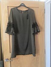 BNWT River Island Khaki Crochet Panel Flute Sleeve Dress size U.K.12 RRP £40.00