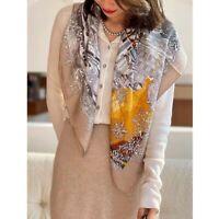 2021 100%Twill Silk Wrap Scarf Bandana Moscow Printed Square Hijab Kerchief 90cm