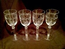 "Rare Vintage Lot Of 4 Fostoria ""Holly"" Pattern 6"" Claret/Wine Glasses Excellent"