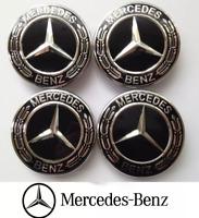 4 X 75mm Mercedes Benz Alloy Wheel Centre Caps Trims Black Fit AMG A B SLK SL