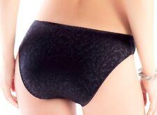 Women Panties,Bikinis ILUSION Size XL  Black Shiny Satin Floral W/decoration