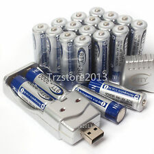 Lot 20×AA 1.2 V 3000mAh Ni-MH BTY Rechargeable Battery Cell &AA AAA USB Charger