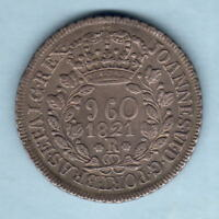 Brazil.  1821-R 960 Reis..  Parts of Host Coin Visible.. gVF