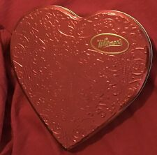Red Whitman'S Valentine Heart Tin 10� Raised Scroll Decoration Candy Container