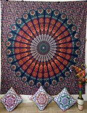 Printed Peacock Mandala Wall Hanging Hippie Cotton Fabric Bedding Queen Tapestry