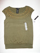 Women's Grace Elements Studded New Olive Green Cap Sleeve Scoop Neck Blouse Sz S