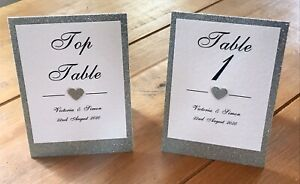 Personalised Wedding Table Numbers / Names - Glitter Heart and Backing Card