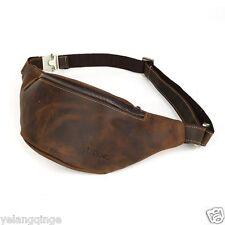 Men's Genuine Cowhide Leather Messenger Hip Bum Belt Fanny Pack Waist Bag Pouch