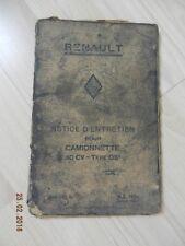 Notice d'utilisation RENAULT camionnette 10 cv - Type OS3 1931