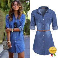 Retro Fashion Women Casual Blouse Blue Jean Denim Long Sleeve Shirt Tops Jacket