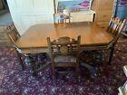"""Antique Berkey & Gay Furniture """"The Elizabeth"""" Tudor Walnut Table 6 Chairs"""