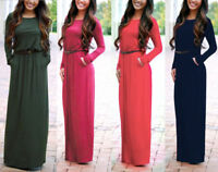 Women Casual Fall Winter Knit Long Sleeve Full-Length Maxi Dress Loose with Belt