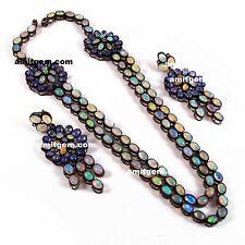 925 Silver Diamond Tanzanite Ethiopian Fire Opal Earring Necklace Jewelry Set