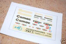 """DECAL CALCA 1/43 JUEGO DE LOGOS / LOGOS SET """"CAMAC"""" JAL43 (PAT 1)"""