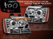 07-10 CHEVY TAHOE/SUBURBAN/AVALANCHE PROJECTOR HEADLIGHTS CHROME AMBER TWIN HALO