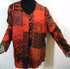 910T~TIENDA HO~Red-Orange~TUNIC TOP~Hippy Rayon Patchwork~OVER SIZED~l/s~OS~1X?