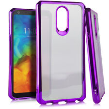 For LG Q7 / LG Q7+ PLUS - Purple Chrome Slim Soft Rubber Silicone TPU Case Cover