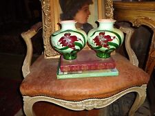 Julius Dressler Austrian secession Jugenstheil Pair of Majolica Vases--Very Rare