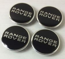 4x RANGE ROVER BLACK CENTER WHEEL BLACK EMBLEM BADGE HUB CAPS 63MM 2.5""