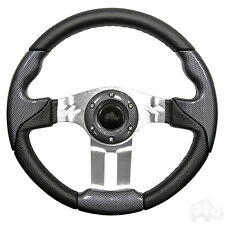 GOLF CART STEERING WHEEL BLACK/ CARBON FIBER W/ ADAPTER EZGO(R)